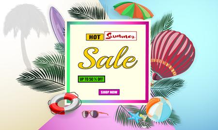 Summer sale background. EPS10 vector illustration template. Banner, flyer, invitation, posters, brochure, voucher discount. Advertising