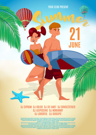 Summer characters. Surfing style. Vector illustration.
