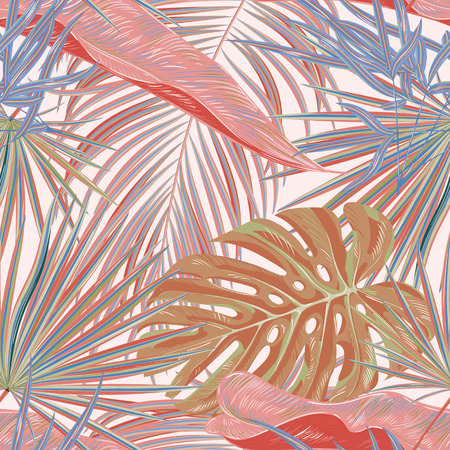 Green palm leaves on the pink background. Vector seamless pattern. Tropical illustration. Jungle foliage. 일러스트