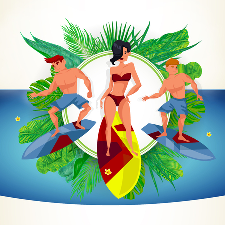 Surfing beach characters. Summer time. Vector cartoons Illustration