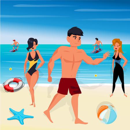 enfant maillot de bain: Beach and sea, characters vector illustration
