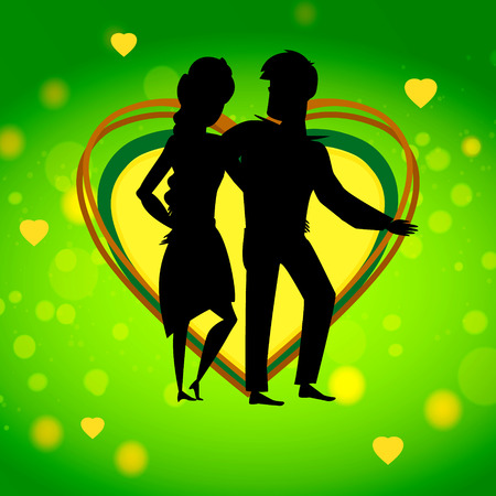 Valentine heart with in loved couple silhouette.
