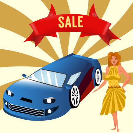 Buying or selling a car. Sale ribbon. Blonde woman near the car. Vector illustration in cartoon style.