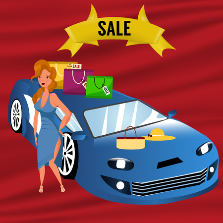 car: Buying or selling a car. Sale ribbon. Blonde woman near the car. Vector illustration in cartoon style.