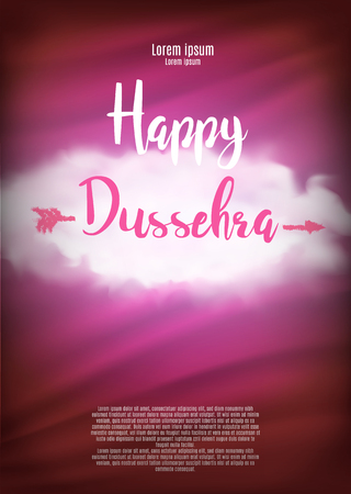 Creative illustration with stylish typography happy dussehra on grungy background.