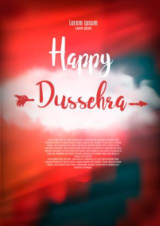 dashamukha: Creative illustration with stylish typography happy dussehra on grungy background.