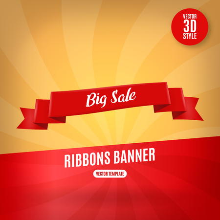 christmas postcard: Red ribbon horizontal banners flat isolated vector illustration. Illustration