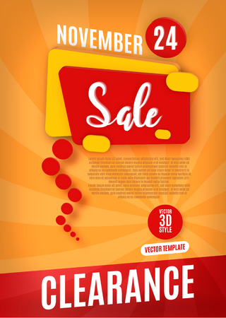 winter fashion: Clearance sale poster or flyer design. Word Sale on red hint. Vector illustration.