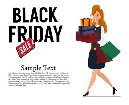 Black Friday sale. Pretty woman with bags and boxes, shopping while black Friday. Cute cartoon character. Vector illustration Stock Photo