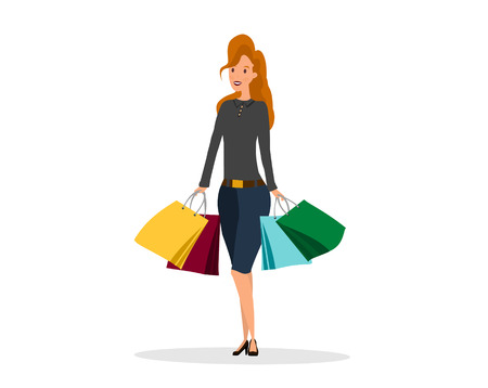 Fashion woman making shoping with paper bags. For sale flyers of sales, black friday. Vector illustration Foto de archivo