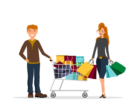 Young couple at shoping with trolley cart, papers bags and boxes. Flat background vector cartoon illustration