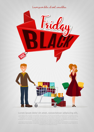 Black Friday sale modern poster, banner. Young caucasian white couple holding a lot of purchases after shopping on a Black Friday sale. Vector cartoon illustration.