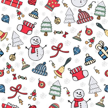 Ilustración de vector de patrón de navidad sin costuras Foto de archivo - 91020451