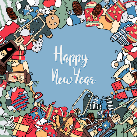 Cartoon cute doodles hand drawn New Year illustration. Picture with New Year theme items. Colorful detailed, with lots of objects background. Funny vector artwork.