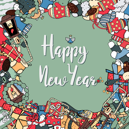 Cartoon cute doodles, hand drawn New Year illustration. Picture with New Year theme items. Colorful detailed, with lots of objects background. Funny vector artwork.