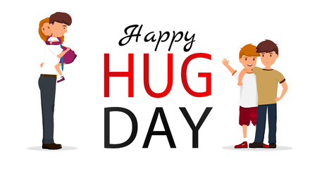 Hug day background for banner, poster. Vector illustration  イラスト・ベクター素材
