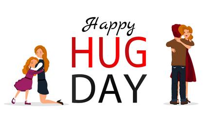 Hug day background for banner, poster. Vector illustration Illustration