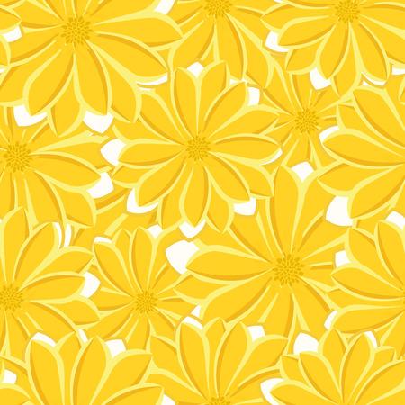 Pretty daisy floral print seamless background illustration.