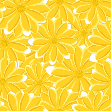 Pretty daisy floral print seamless background illustration.