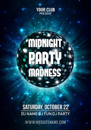 Bola de discoteca brillante. Folleto de fiesta nocturna. Ilustración de vector.