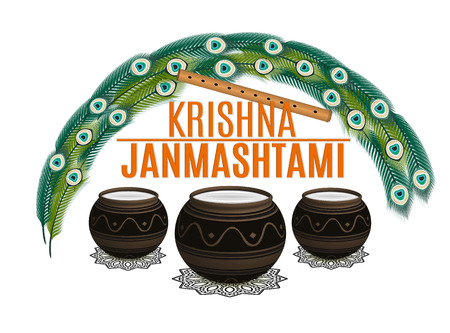 Holiday Symbols Krishna Janmashtami. Broken Pot of yoghurt, peacock feather, flute and sweets. Vector illustration Illustration