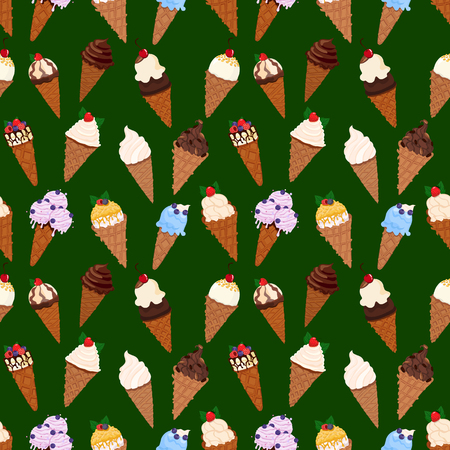 Ice cream with waffle cones vector seamless pattern on green background