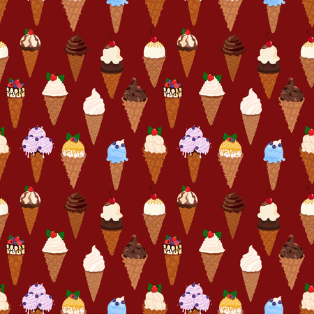 Ice cream with waffle cones vector seamless pattern on red background