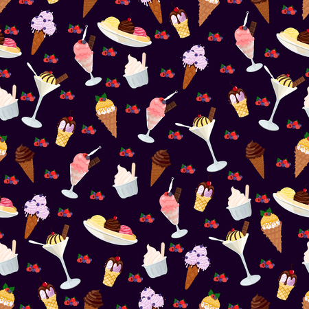 Ice cream with waffle cones vector seamless pattern on purple background