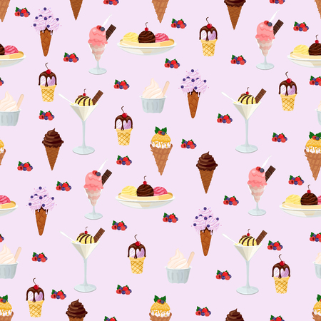 Ice cream with waffle cones vector seamless pattern on beige background