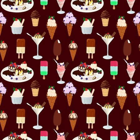 Nahtloses Muster mit Eiscreme. Handgezeichneter nahtloser Hintergrund. Vektorillustration