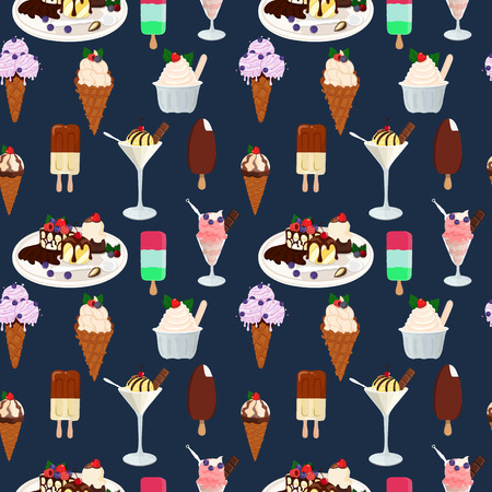 Seamless pattern with ice cream. Hand drawn seamless background. Vector Illustration