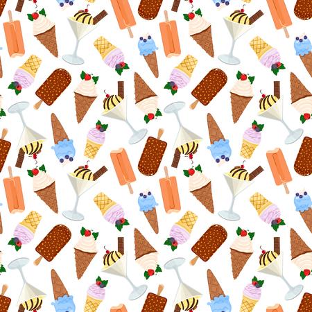 Assorted ice cream seamless pattern. Vector illustration