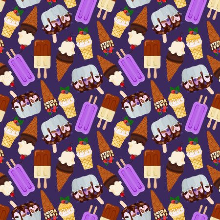 Vector pattern with ice cream
