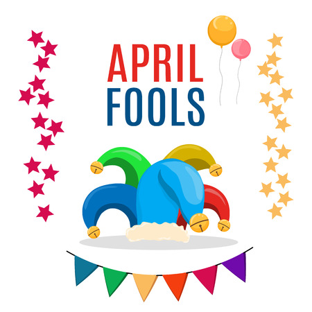 April Fools Day text and funny illustration EPS 10 vector for greeting card, ad, promotion, poster, flier, blog, article, marketing, signage or email