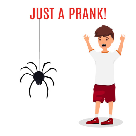 Madly frightened man. Boy afraid of a spider hanging from the top. Prank concept. Colorful flat style cartoon vector illustration.