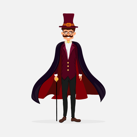 Elegant gentleman in top hat and cloak holding a stick. Flat style. Vector illustration.