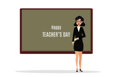 Happy Teachers Day. A kind teacher stands at the chalkboard. Illustration