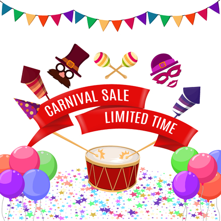Vector illustration of the carnival. Poster template. Stock Illustratie