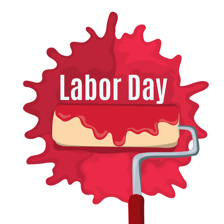 Paint roller like happy labor day. concept of international holiday in mayday like labourday