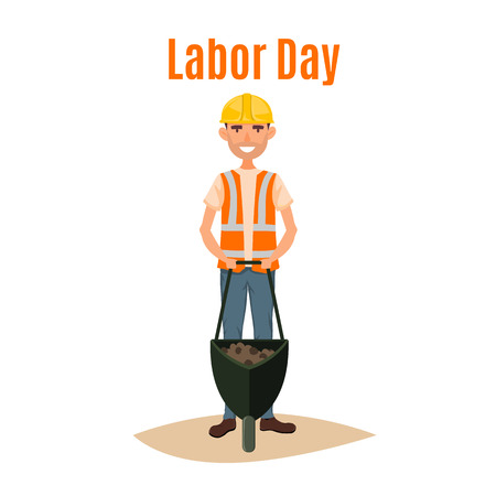 Labor day 1st May word and worker man cartoon illustration.