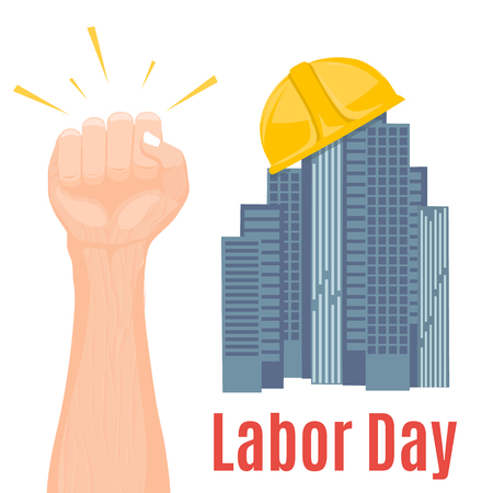 Happy Labour Day, First of May with clenched fist.