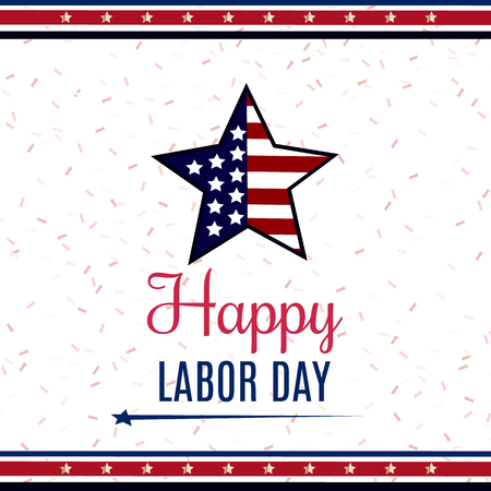 USA Labor Day greeting card with United States national flag colors.