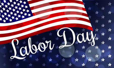 USA Labor Day greeting card with United States national flag colors. Vector illustration Illustration