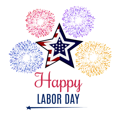 Happy Labor Day holiday banner with United States national flag colors.