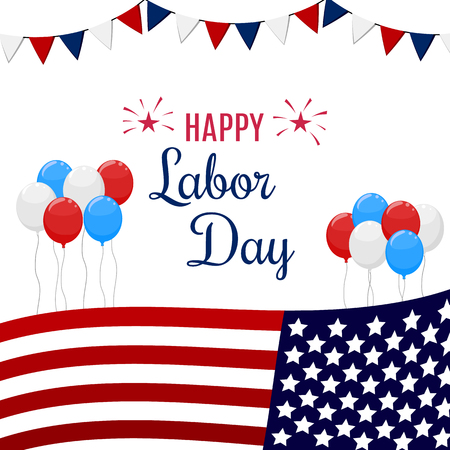 Happy Labor Day holiday banner with United States national flag colors. Vector illustration. Çizim
