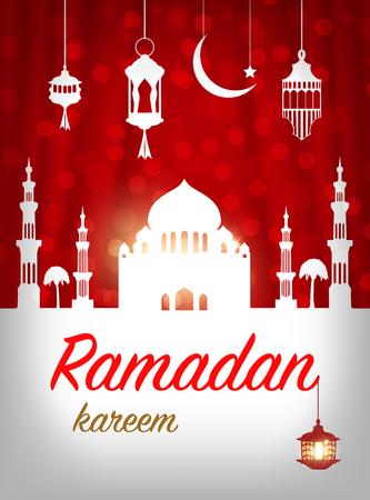 Ramadan greeting card. Mosque with Islamic symbols. Ilustração