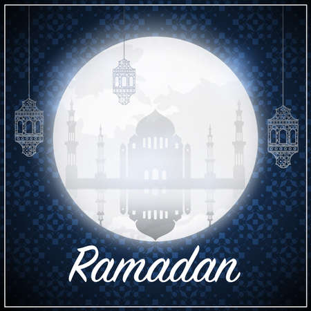 Islamic Greeting Card Design, Ramadan Kareem. Vector Illustration 일러스트