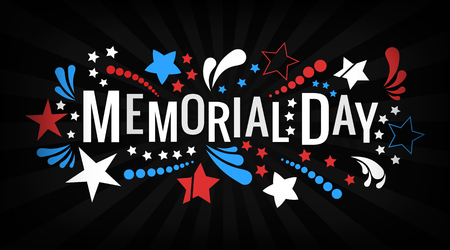 Happy Memorial Day lettering phrase in. National American holiday illustration with color stars and abstract shapes. Festive poster, greeting card, invitation etc. Illustration
