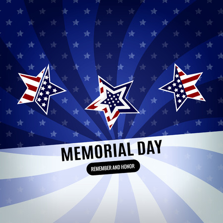 Happy Memorial Day background. Abstract flag banner with stars. Illustration