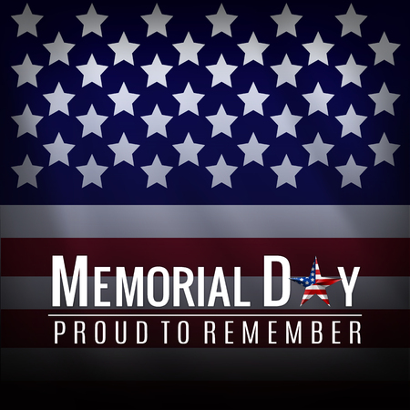 Memorial Day background with American national flag, stars and stripes. Template for Memorial Day invitation, greeting card, banner and advertising. Illustration.